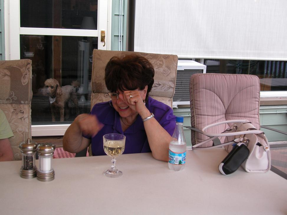 Here Nancy (N8IPG) chats during dinner.