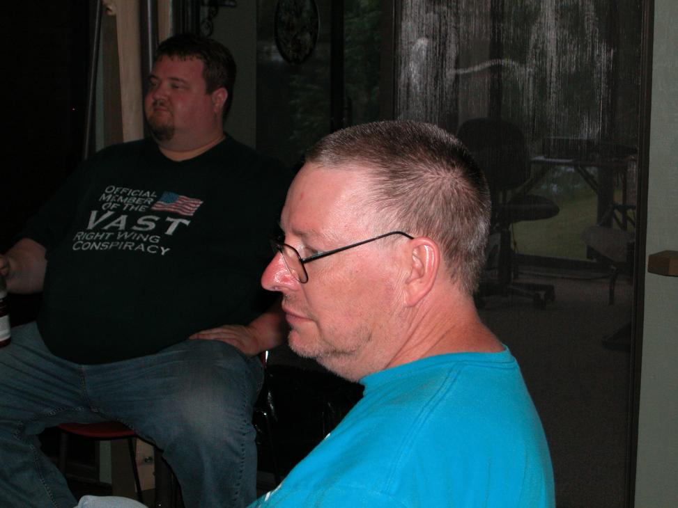 Steve (K8VOL) listens while the conversation is about antennas.